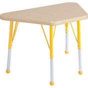 20x33 Trapezoid Activity Table Maple Top Maple Edge Ylw Juvenile Leg Ball Glide