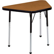 "ECR4Kids® 18"" x 30"" Trapezoid Adj Activity Table Oak Top Black Edge Juvenile Legs Ball Glide"