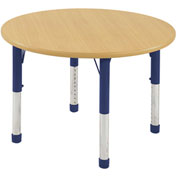 "ECR4Kids® 30"" x 30"" Round 15"" to 24""H Adjustable Activity Table Maple/Blue with Swivel Glides"