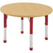 "ECR4Kids® 30"" x 30"" Round 15"" to 24""H Adjustable Activity Table Maple/Red with Swivel Glides"