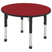 "ECR4Kids® 30"" x 30"" Round 15"" to 24""H Adjustable Activity Table Red/Black with Swivel Glides"