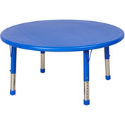 "ECR4Kids® 45"" x 45"" Round 13-1/4"" to 22-1/4""H Adjustable Resin Table Blue/Blue w/ Swivel Glides"