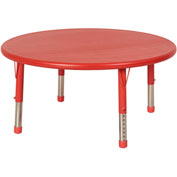 "ECR4Kids® 45"" x 45"" Round 13-1/4"" to 22-1/4""H Adjustable Resin Table Red/Red with Swivel Glides"