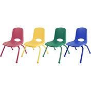 "ECR4Kids® 12"" Stack Chair with Matching Legs & Ball Glides Assorted Colors 6 Pack"