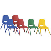 "ECR4Kids® 12"" Stack Chair with Matching Legs & Swivel Glides Assorted Colors 6 Pack"