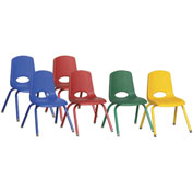 """ECR4Kids® 14"""" Stack Chair with Matching Legs & Swivel Glides Assorted Colors 6 Pack"""
