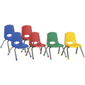 "ECR4Kids® 12"" Stack Chair with Chrome Legs & Ball Glides Assorted Colors 6 Pack"