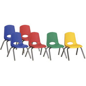 "ECR4Kids® 12"" Stack Chair with Chrome Legs & Swivel Glides Assorted Colors 6 Pack"