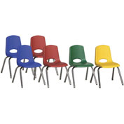 """ECR4Kids® 14"""" Stack Chair with Chrome Legs & Swivel Glides Assorted Colors 6 Pack"""