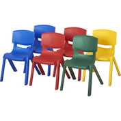 "ECR4Kids® 14"" Assorted Poly Resin Chair 6 Pack -  Two Blue, Two Red, 1 Yellow & 1 Green"