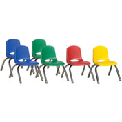 "ECR4Kids® 10"" Stack Chair with Chrome Legs & Swivel Glides Assorted Colors 6 Pack"