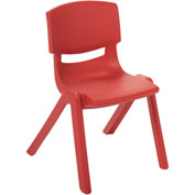 "ECR4Kids® 12"" Polypropylene Resin Chair - Red - Pkg Qty 6"