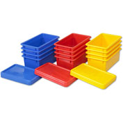ECR4Kids®  ELR-20506 Stack & Store Tubs w/Lids, 13-1/26x8-5/8x5-5/16, Assorted, 12 Pack