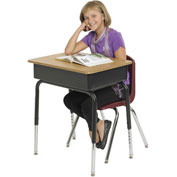 "ECR4Kids® Open Front Desk With Metal Book Box - 18"" x 24"" - Adjustable Height - Pkg Qty 2"