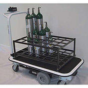 Electro Kinetic Technologies Motorized Medical Cylinder Cart MGC-1772-S24C -24 Cylinders Coated Rack
