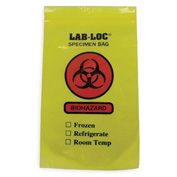 "Reclosable 3-Wall Specimen Transfer Bag (Biohazard), 6"" x 9"", Yellow Tint, Pkg Qty 1000"