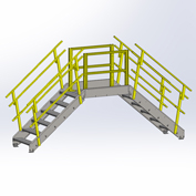 "Equipto 1730B05 Cross Over Bridge, 35"" Overall Width, 5 Stairs"