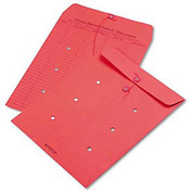 Interoffice Envelopes, String-Tie, Printed One Side, 10 x 13, Red, 100/Carton