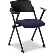 Ergocraft Xilla Nesting Chair with Arms Plastic Back Fabric Seat with Glides Midnight Blue - Pkg Qty 4