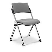 Ergocraft Xilla Nesting Armless Room Chair Fabric Seat/Back Chrome Frame with Glides Asteroid Gray - Pkg Qty 4