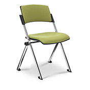 Ergocraft Xilla Nesting Armless Room Chair Fabric Seat/Back Chrome Frame with Glides Green Apple - Pkg Qty 4