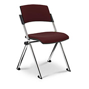 Ergocraft Xilla Nesting Armless Room Chair Fabric Seat/Back Chrome Frame with Glides Mulberry - Pkg Qty 4
