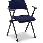 Ergocraft Xilla Nesting Room Chair with Arms Fabric Seat/Back with Glides Midnight Blue - Pkg Qty 4