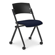 Ergocraft Xilla Nesting Armless Chair Fabric Seat/Back Chrome Frame with Casters Midnight Blue - Pkg Qty 4