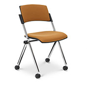 Ergocraft Xilla Armless Nesting Chair Plastic Back Fabric Seat Chrome Frame with Casters Amber - Pkg Qty 4