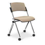 Ergocraft Xilla Armless Nesting Chair Plastic Back Fabric Seat Chrome Frame with Casters Taupe - Pkg Qty 4