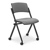 Ergocraft Xilla Armless Nesting Chair Plastic Back Fabric Seat Chrome Frame with Casters Gray - Pkg Qty 4