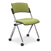 Ergocraft Xilla Armless Nesting Chair Plastic Back Fabric Seat Chrome Frame with Casters Green Apple - Pkg Qty 4