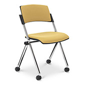 Ergocraft Xilla Armless Nesting Chair Plastic Back Fabric Seat Chrome Frame with Casters Straw Gold - Pkg Qty 4