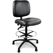 ErgoCraft WorkTuff Big & Tall Stool - Antimicrobial - Vinyl - Black