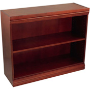 "Traditional Wood Veneer Bookcase, 1 Adjustable Shelf, Mahogany Finish, 36""W x 30""H"