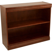 "Traditional Wood Veneer Bookcase, 1 Adjustable Shelf, Walnut Finish, 36""W x 30""H"