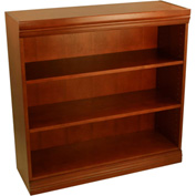 """Traditional Wood Veneer Bookcase, 2 Adjustable Shelves, Cherry Finish, 36""""W x 36""""H"""