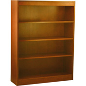"Wood Veneer Bookcase, 3 Adjustable Shelves, Medium Oak Finish, 36""W x 48""H"