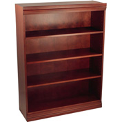 "Traditional Wood Veneer Bookcase, 3 Adjustable Shelves, Mahogany Finish, 36""W x 48""H"