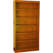 "Wood Veneer Bookcase, 5 Adjustable Shelves, Medium Oak Finish, 36""W x 72""H"
