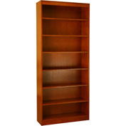 "Wood Veneer Bookcase, 6 Adjustable Shelves, Cherry Finish, 36""W x 84""H"