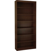 "Wood Veneer Bookcase, 6 Adjustable Shelves, Espresso Finish, 36""W x 84""H"