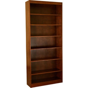 "Wood Veneer Bookcase, 6 Adjustable Shelves, Walnut Finish, 36""W x 84""H"