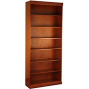 "Traditional Wood Veneer Bookcase, 6 Adjustable Shelves, Cherry Finish, 36""W x 84""H"