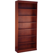 "Traditional Wood Veneer Bookcase, 6 Adjustable Shelves, Mahogany Finish, 36""W x 84""H"