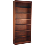 "Traditional Wood Veneer Bookcase, 6 Adjustable Shelves, Walnut Finish, 36""W x 84""H"