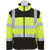 ERB™ 62207, W650 Aware Wear Hi-Vis Soft Shell Jacket, Class 3, Hi-Vis Lime/Black, 3XL