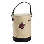 "Arsenal® 5730T Leather Bottom Bucket with Top, 12-1/2""D x 17""H, White"