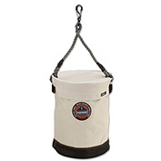 "Arsenal® 5740T Leather Bottom Bucket-Swivel with Top, 12-1/2""D x 17""H, White"