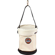 "Arsenal® 5760T Canvas Leather Bottom Bucket D-Rings W/Top, 12-1/2""D x 17""H, White"